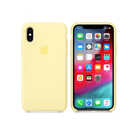 funda silicona apple amarillo suave iPhone xs