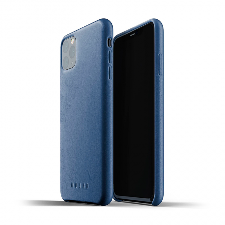 Funda iPhone 11 Pro Max cuero azul Mujjo