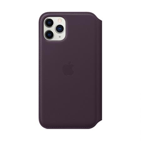 Funda de cuero color berenjena con tapa de apple para iphone 11 pro