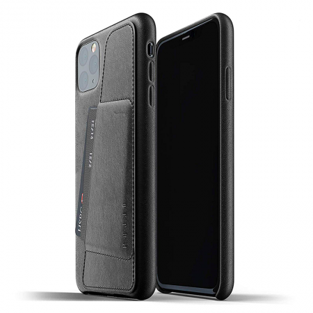 Funda Mujjo de cuero negro con tarjetero para iPhone 11 Pro Max