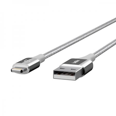 Cable lightning de carga para iPhone y iPad plata de Belkin Duratek