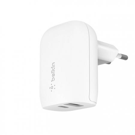 Cargador de carga rápida con conexión USB y USB-C de pared para iPhone y iPad de Belkin