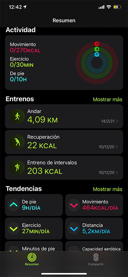 aplicación fitness iphone