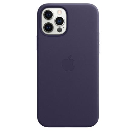 Funda de piel iPhone 12 y iPhone 12 Pro violeta profundo