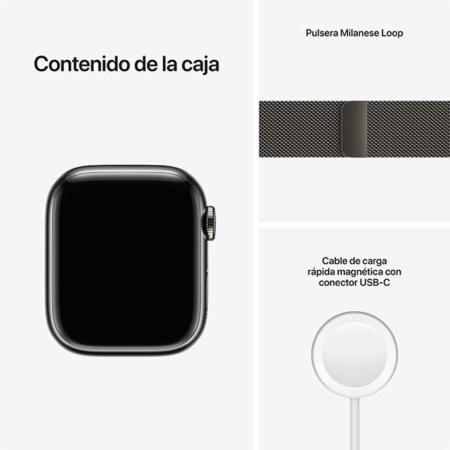 Apple Watch Series 7 Acero Grafito contenido caja