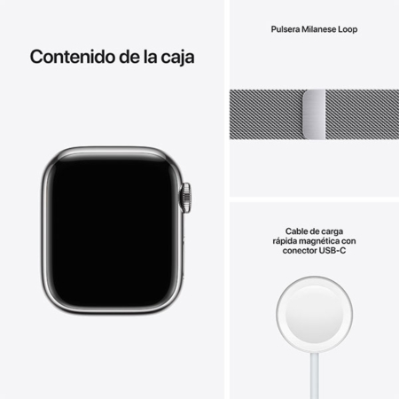 Apple Watch Series 7 Acero Plata contenido caja