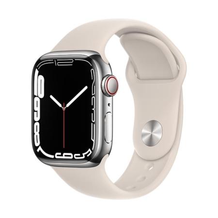 Apple Watch Series 7 Acero Plata Correa Blanco Estrella