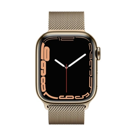 Apple Watch Series 7 Acero Dorado Correa Milanese Dorada