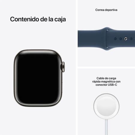 Apple Watch Series 7 Acero Grafito Correa Azul contenido caja