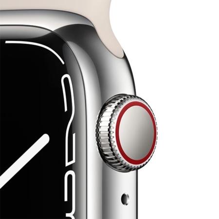 Apple Watch Series 7 Acero Plata correa deportiva blanco estrella