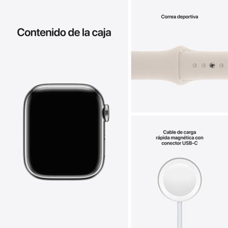 Apple Watch Series 7 Acero Plata correa deportiva blanco estrella contenido caja