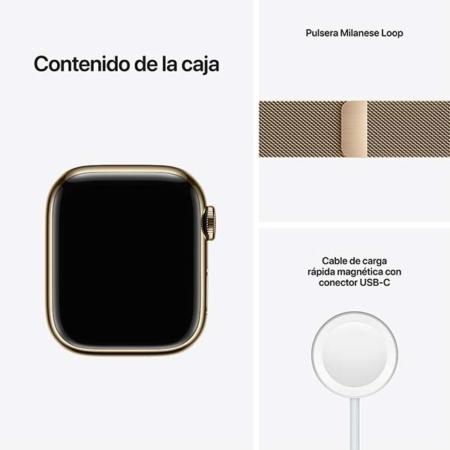 Apple Watch Series 7 Acero Dorado contenido caja