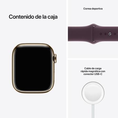 Apple Watch Series 7 Acero Dorado Correa Cereza contenido caja
