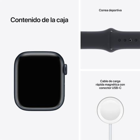 Apple Watch Series 7 Aluminio medianoche con correa deportiva medianoche contenido caja