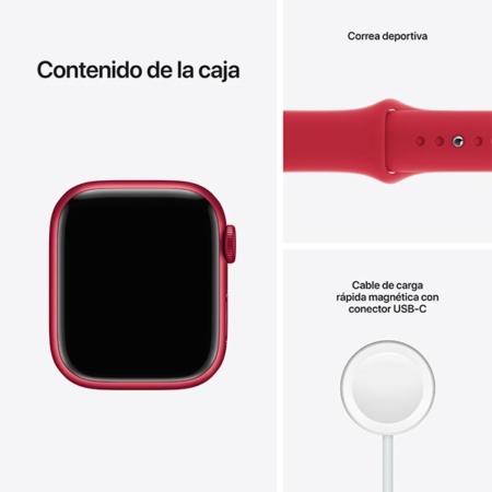 Apple Watch Series 7 Aluminio rojo con correa deportiva roja contenido caja