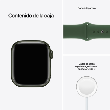 Apple Watch Series 7 Aluminio verde con correa deportiva verde contenido caja