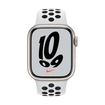 Apple Watch Series 7 Nike Blanco estrella correa platino negra